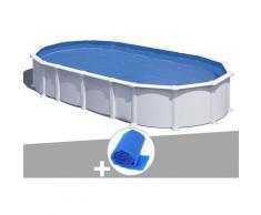Kit piscine acier blanc Atlantis ovale 7,44 x 3,99 x 1,32 m + Bâche à bulles - GRÉ
