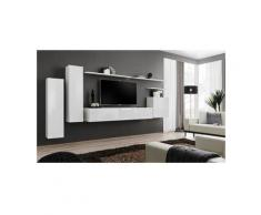 Ensemble meuble salon SWITCH I design, coloris blanc brillant.