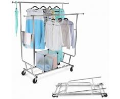 LANGRIA Portant Vêtements 2 Barres Extensibles, Rangement dAppoint Charge Lourde 113kg, Roulettes