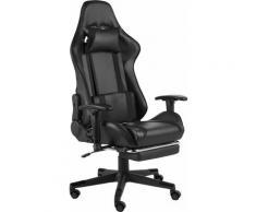Betterlife - Chaise de jeu pivotante avec repose-pied Noir PVC1823-A