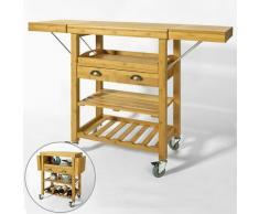 Desserte Roulante Chariot de Cuisine en Bambou - Plans de Travail Rabattables FKW25-N SoBuy®