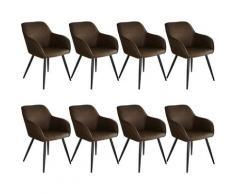 Tectake - Lot de 8 chaises tissu MARILYN - Chaise, chaise de salle à manger, chaise de salon - brun