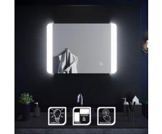 Miroir de salle de bain led rectangle 70x50 cm Commutateur tactile - Sirhona
