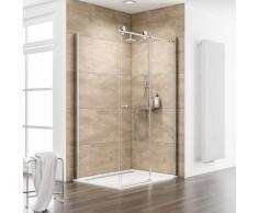 Porte de douche coulissante + paroi de retour fixe, verre 8 mm, profilé aspect chromé, MasterClass,