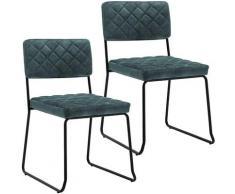 Décoshop26 - Lot de 2 chaises visiteur fauteuil salle à manger bureau en velours bleu rembourrée