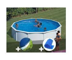 Kit piscine acier blanc Fidji ronde 5,70 x 1,22 m + Bâche hiver + Bâche à bulles - GRÉ