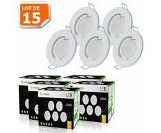 LOT DE 15 SPOT LED ENCASTRABLE COMPLETE RONDE FIXE eq. 50W LUMIERE BLANC NEUTRE