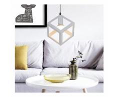 Lampe de Plafond Industrielle E27 Plafonnier Lustre Suspension Cage Métal Blanc