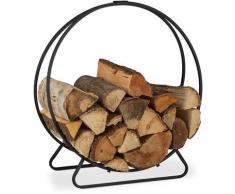 Etagère de Cheminée, Range bûches rond, Bois, acier, étagère cercle bois, HxlxP 65x61x26 cm, noir
