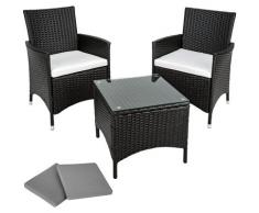 Tectake - Salon de jardin ATHENES - 2 Chaises Fauteuils et 1 Table en Résine Tressée structure