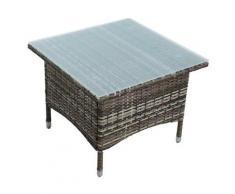 Table d'appoint Table de jardin en polyrattan Table de balcon en beige-marron
