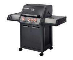 Barbecue au gaz BRASERO Monroe Pro 3+1 Feux - 3 brûleurs dont 1 Turbo Zone + 1 Side, Noir