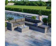 Salon de jardin résine tressée d'angle fonctionnel avec coffre de rangement intégré - gris
