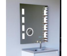 Miroir anti-buée 70x80 cm - éclairage intégré à LED, interrupteur sensitif, loupe et heure