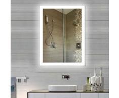 Miroir Salle de Bain Miroir Mural 90*70CM en Mercure Nouvelle Génération Anti-Brouillard Bouton