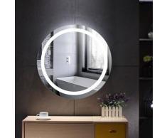 Dazhom - Miroir de salle de bain rond anti-buée blanc froid 60 * 60 * 4.5cm