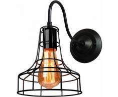 Rétro Appliques Murales Industrielle Vintage Intérieure Cage en Métal Fer Noir Suspension luminaire