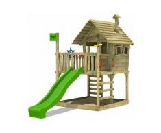 Aire de jeux Portique bois WackyWorld avec toboggan vert pomme Maison enfant exterieur avec bac à
