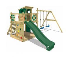 WICKEY Aire de jeux Portique bois Smart Camp avec balançoire et toboggan vert Cabane enfant