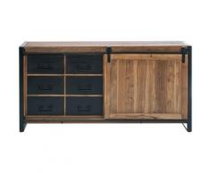 Made In Meubles - Buffet industriel porte coulissante - Brut
