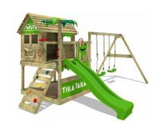 FATMOOSE Aire de jeux Portique bois TikaTaka avec balançoire et toboggan vert pomme Cabane enfant