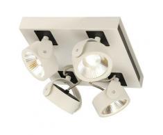 KALU LED 4 applique plafonnier, carré, blanc noir, LED 60W, 3000K, 60° - Blanc