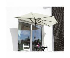 Sekey Outdoor 2.7m Demi Parasol en Acier Parasol avec verrière 100% Polyester (CRÈME), UV 50+