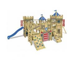 WICKEY Aire de jeux Portique bois The Golden Goat avec balançoire et toboggan bleu Maison enfant