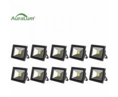 10×Auralum 30W Projecteur LED IP65 Spot LED 2500-3000LM Éclairage Extérieur et Intérieur Blanc