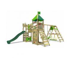 FATMOOSE Aire de jeux Portique bois RiverRun avec balançoire SurfSwing et toboggan vert Maison