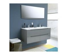 SMILE Salle de bain double vasque + miroir L 120 cm - 4 tiroirs a fermeture ralenties - Anthracite