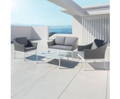 HELGA - Ensemble salon de jardin - 4 places - Aluminium et résine tressée Gris