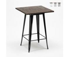 Table haute pour tabourets Tolix industriel en métal acier et bois 60x60 Welded | Couleur: Noir