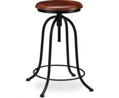 Tabouret de Bar, Design industriel, rond, Chaise haute ronde, Hauteur réglable jusqu'à 65 cm,