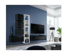 Price Factory - Ensemble meuble TV mural CUBE 11 design coloris noir et blanc. Meuble de salon