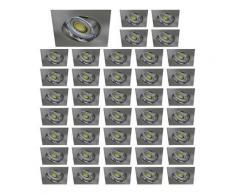 Lot De 40 Spot Led Carre 230V Alu Brosse Blanc Neutre