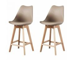 ALIX - Lot de 2 tabourets scandinave - Taupe - pieds en bois massif design salle a manger salon