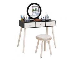 Coiffeuses avec Tabouret, Miroir avec et 3 Tiroirs,pour Chambre ou Dressing