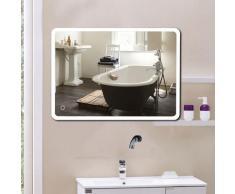 Miroir de salle de bain d'angle arrondi (70*50 cm, blanc froid)