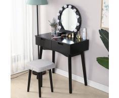 Bathrins - Coiffeuse table, Coiffeuse avec Miroir et Ampoules pour Maquillage, Tabouret Rembourré