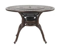 Beliani - Table de jardin marron foncé ø 105 cm avec braséro grill intégré MANFIRA