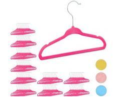 100x Cintres enfants en plastique antidérapant vêtements bébé enfant velours HxlxP: 18 x 28 x 0,5