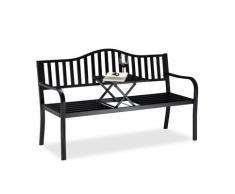 Relaxdays - Banc de jardin table pliante, 3 places, Banc extérieur balcon terrasse en métal, 90 x