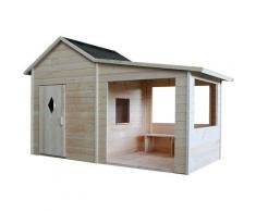 Cabane pour enfant en bois avec préau et banc - Amaryllis