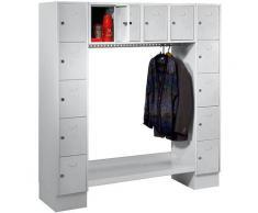 Wolf Vestiaire, ouvert - h x l h.t. 1850 x 1800 mm, 14 casiers - gris clair - Coloris des portes: