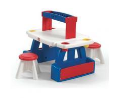 Creative Project Bureau & 2 Tabourets d'enfant   Table de créativité en plastique avec espace de