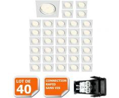 LOT DE 40 SPOT ENCASTRABLE ORIENTABLE LED CARRE GU10 230V eq. 50W BLANC NEUTRE