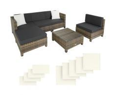 Tectake - Salon bas de jardin AMY 5 places avec 2 sets de housses, variante 2 - mobilier de jardin,