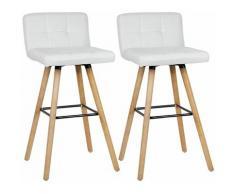 Wyctin - Lot de 8 Tabouret de bar haute - Pieds en bois hêtre + Revêtement en tissu blanc - chaise