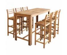 Hommoo Table et chaises de bar 7 pcs Bois d'acacia massif